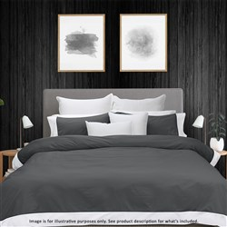 Odyssey Living Breathe Cotton Quilt Cover Queen Charcoal