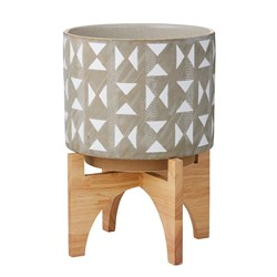 Rogue Hudson Ceramic Pot with Wooden Stand 27 x 27 x 37cm Grey