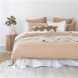 Bambury Juna Peach Jacquard Cotton Quilt Cover Set Queen