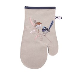 The Linen Press Organic Cotton Wild Blue Wren Pastel Single Mitt