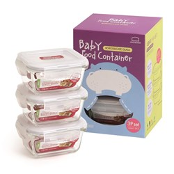 Lock & Lock Heat Resistant Glass 3 Piece Baby Food Container Set