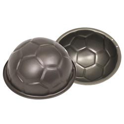 D.Line Non-Stick Pressed Steel Soccer Ball Cake Mould 22.5cm Silver
