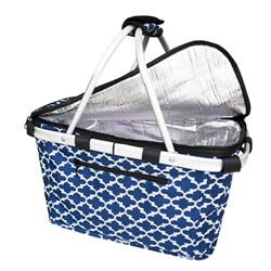 Sachi Insulated Carry Basket With Lid Moroccan Navy