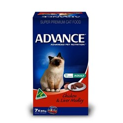 Advance Adult Cat Food 7x85g Chicken & Liver Medley