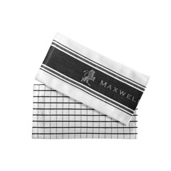 Maxwell & Williams Epicurious Tea Towel Set of 2 Charcoal 50 x 70cm