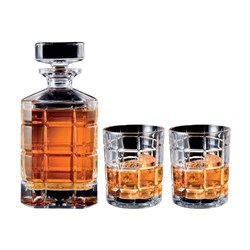 Cellar Premium Luxe Crystal Glass 3 Piece Whisky Decanter Set 900ml/300ml