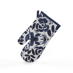 Ambrosia Floral Navy Cotton Oven Glove 18 x 32cm