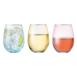 Cellar Tonic Tint Set of 6 Stemless Wine Glasses Multicolour