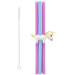 Joie Unicorn 6 Piece Silicone Straw Set with Holder & Cleaning Brush