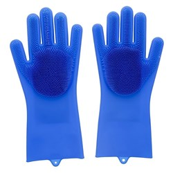Scruba-Dub Antibacterial Silicone Cleaning Gloves Cobalt Blue