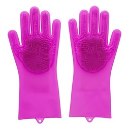 Scruba-Dub Antibacterial Silicone Cleaning Gloves Fuschia Pink