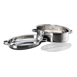 Baccarat Gourmet Stainless Steel Oval Roast & Steam 3 Piece Set