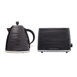Westinghouse 1.7L Kettle & 2 Slice Toaster Pack Black Stripe