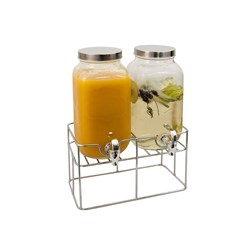 Serroni Glass Double Beverage Dispenser with Stand 3.5L