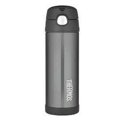 Thermos FUNtainer Drink Bottle 470ml Stainless Steel Vacuum Insulated Charcoal