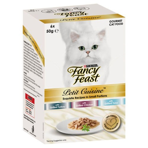 Fancy Feast Petit Cuisine Cat Food Turkey, Chicken  Tuna 6x50g
