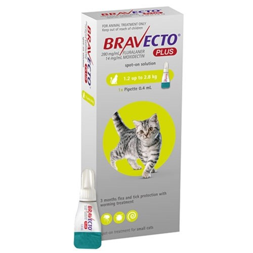 Bravecto Spot on Plus Small Cat Green 1.2 - 2.8kg 1 Pack