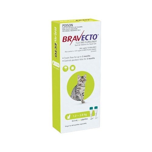 Bravecto Spot On Small Cat Green 1.2 - 2.8kg 2 Pack