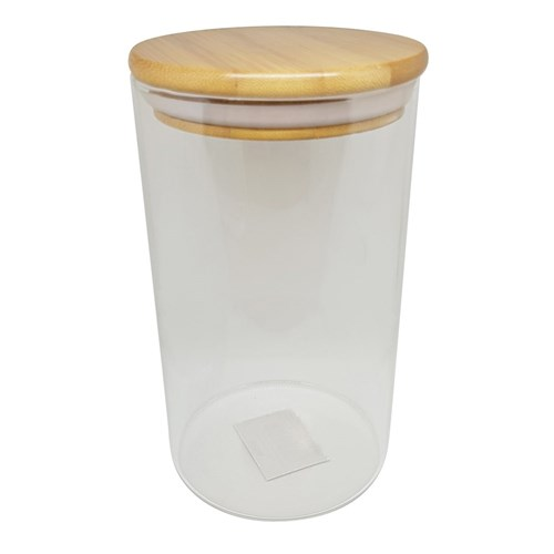 Scullery Bamboo Glass Canister with Bamboo Lid 950ml