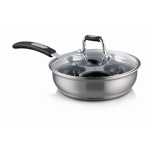 Baccarat Gourmet Stainless Steel 4 Cup Egg Poacher with Lid 20cm