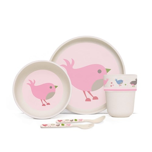 Penny Scallan Chirpy Bird Bamboo Kids Meal Set with Cutlery