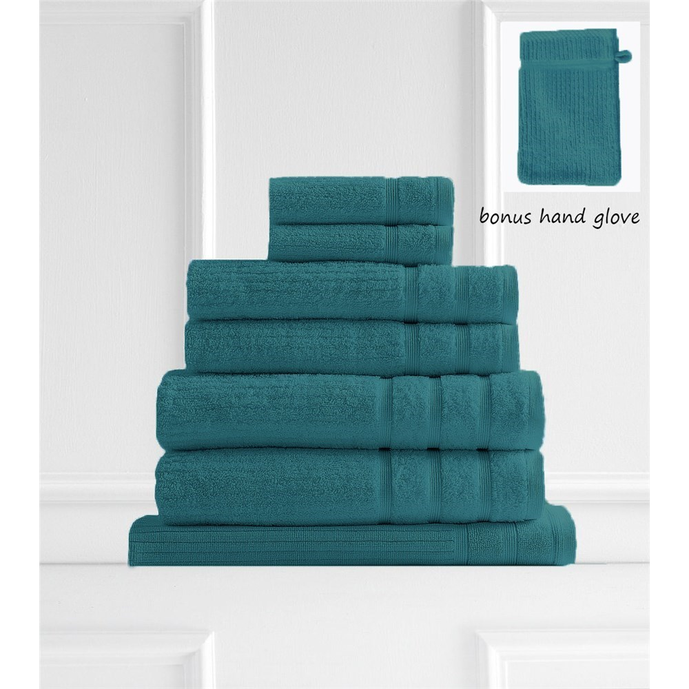 Royal Comfort Eden Egyptian Cotton 600GSM 8-Piece Towel Pack Turquoise