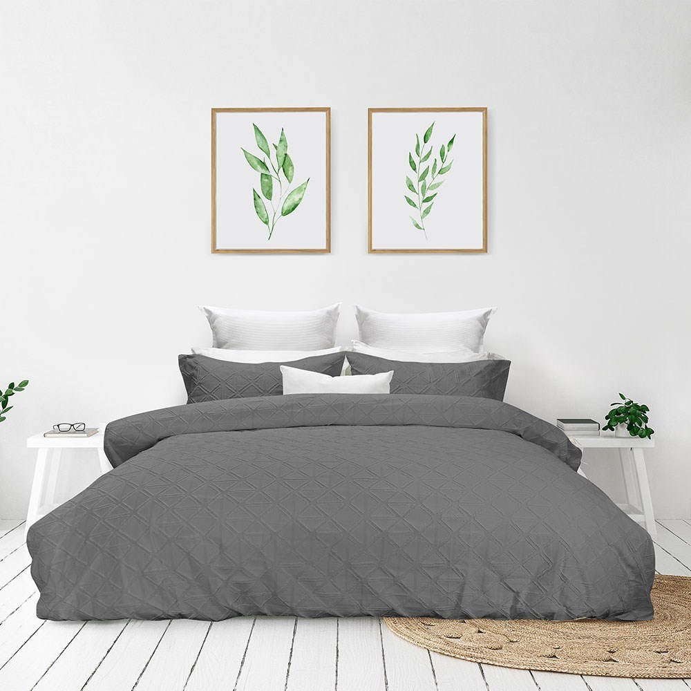 Bas Phillips Avalon Cotton King Bed Quilt Cover Set Night Sky Grey