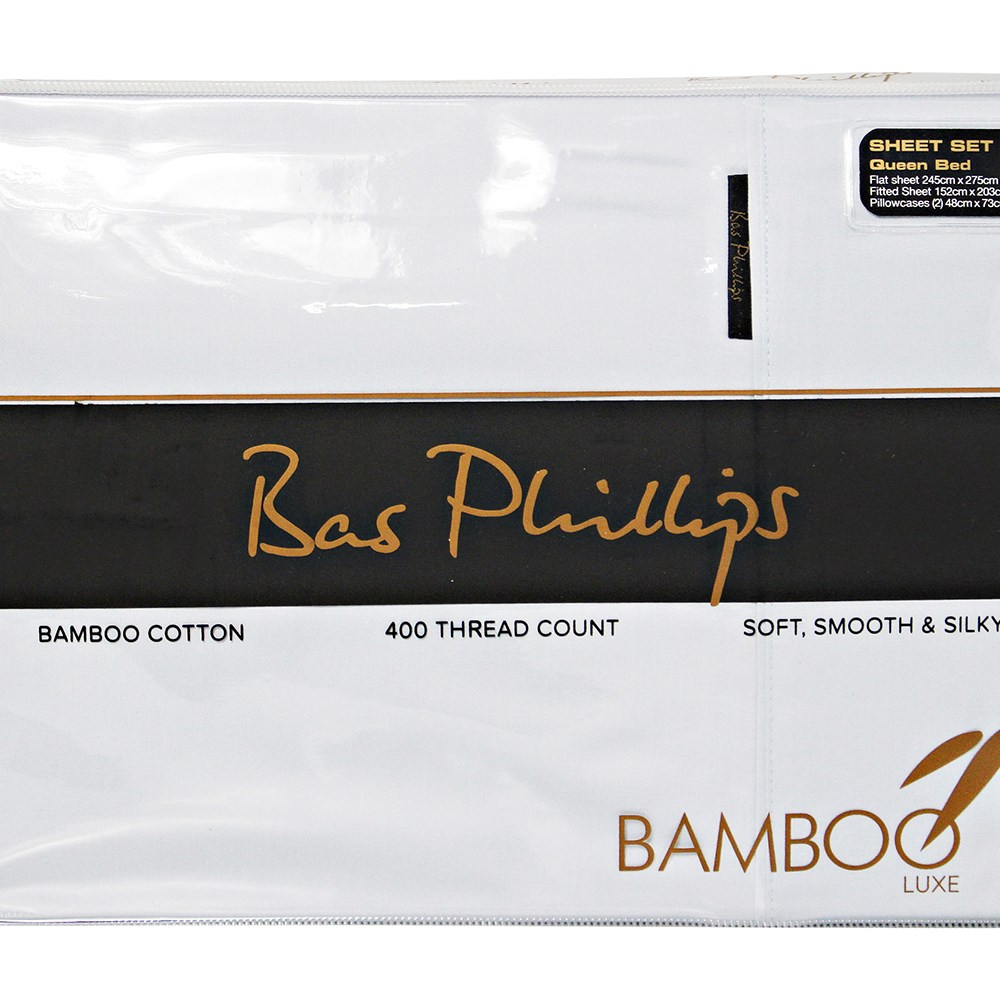 Bas Phillips Mega King Bamboo Cotton Sheet Set White