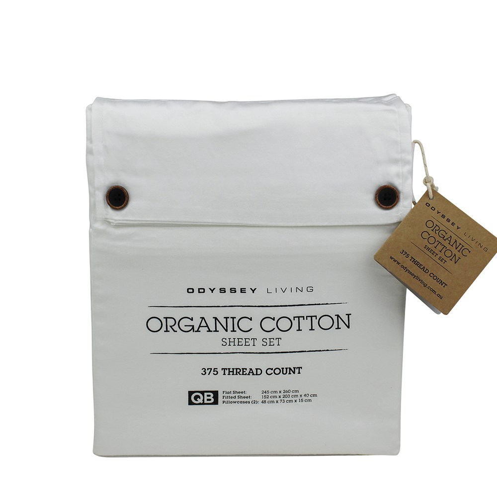 Odyssey Living Double Bed White Organic Cotton Sheet Set