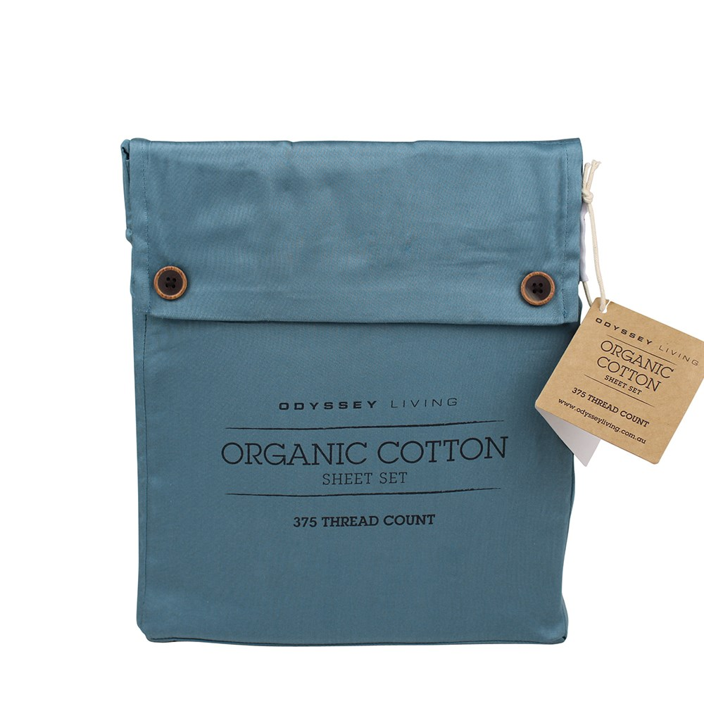 Odyssey Living Double Bed Smokey Teal Organic Cotton Sheet Set