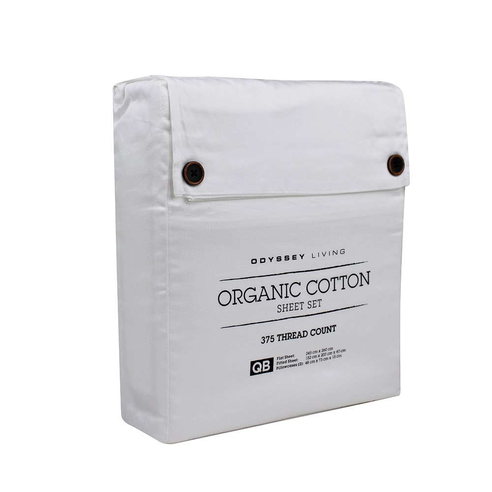 Odyssey Living Queen Bed White Organic Cotton Sheet Set