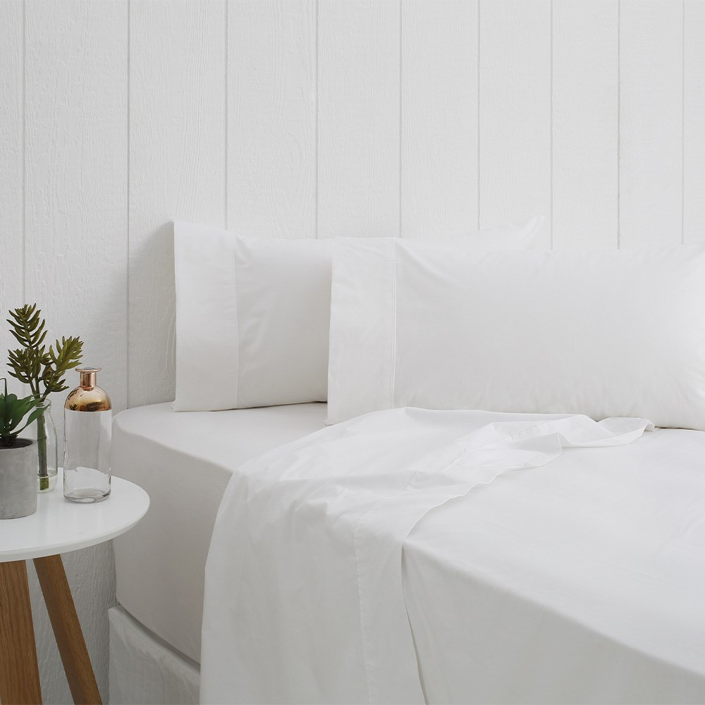 Odyssey Living Breathe Cotton King Single Sheet Set - White Snow