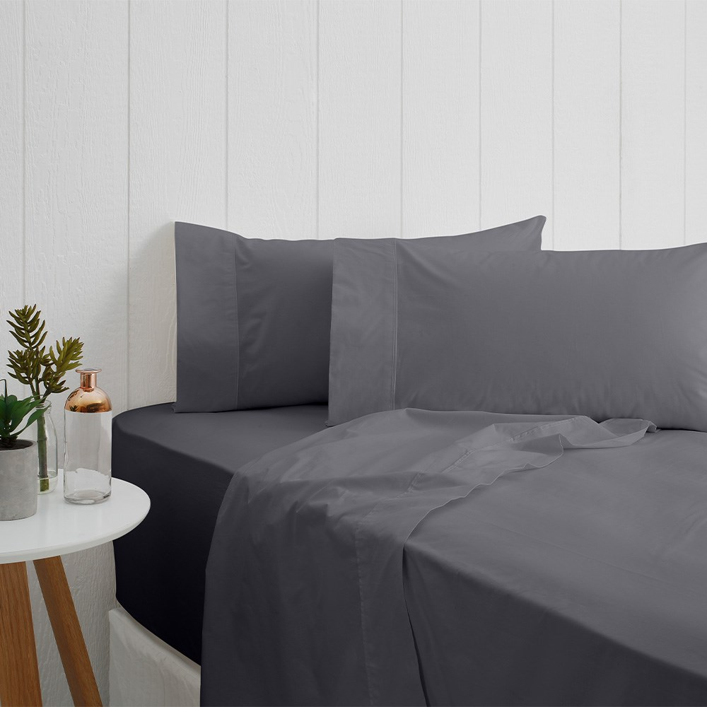 Odyssey Living Breathe Cotton King Single Sheet Set - Charcoal