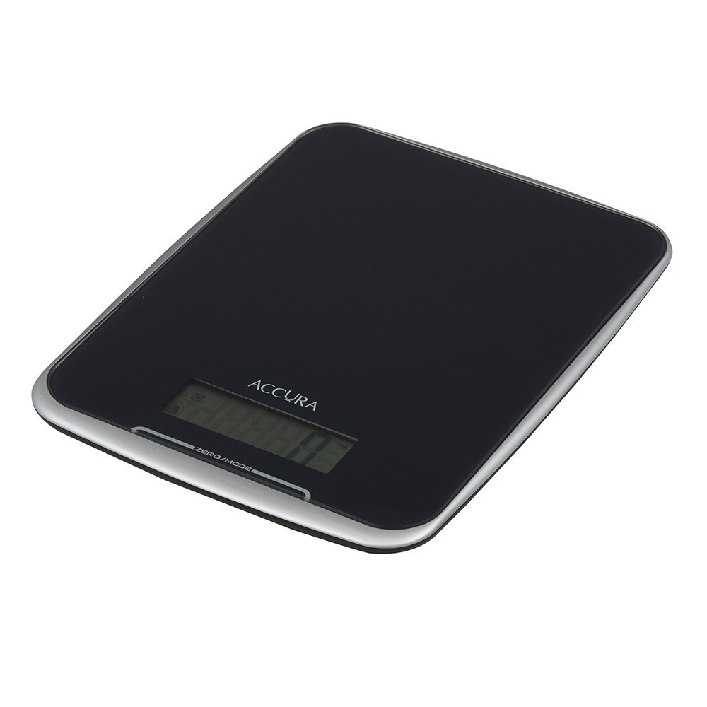 Accura Athena Tempered Glass Electronic Kitchen Scale/Clock 2 x 24 x 16cm