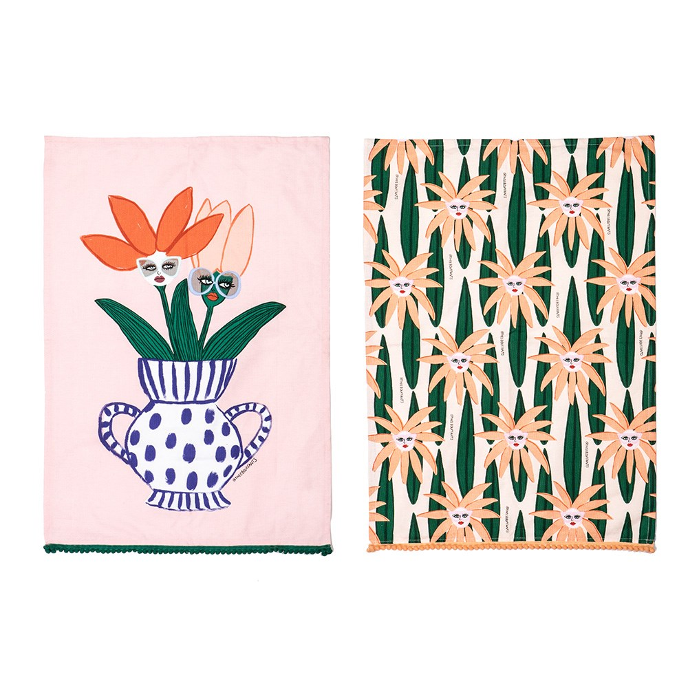 Bouffants & Broken Hearts Jungle Rumble Face Plant Tea Towel Set/2