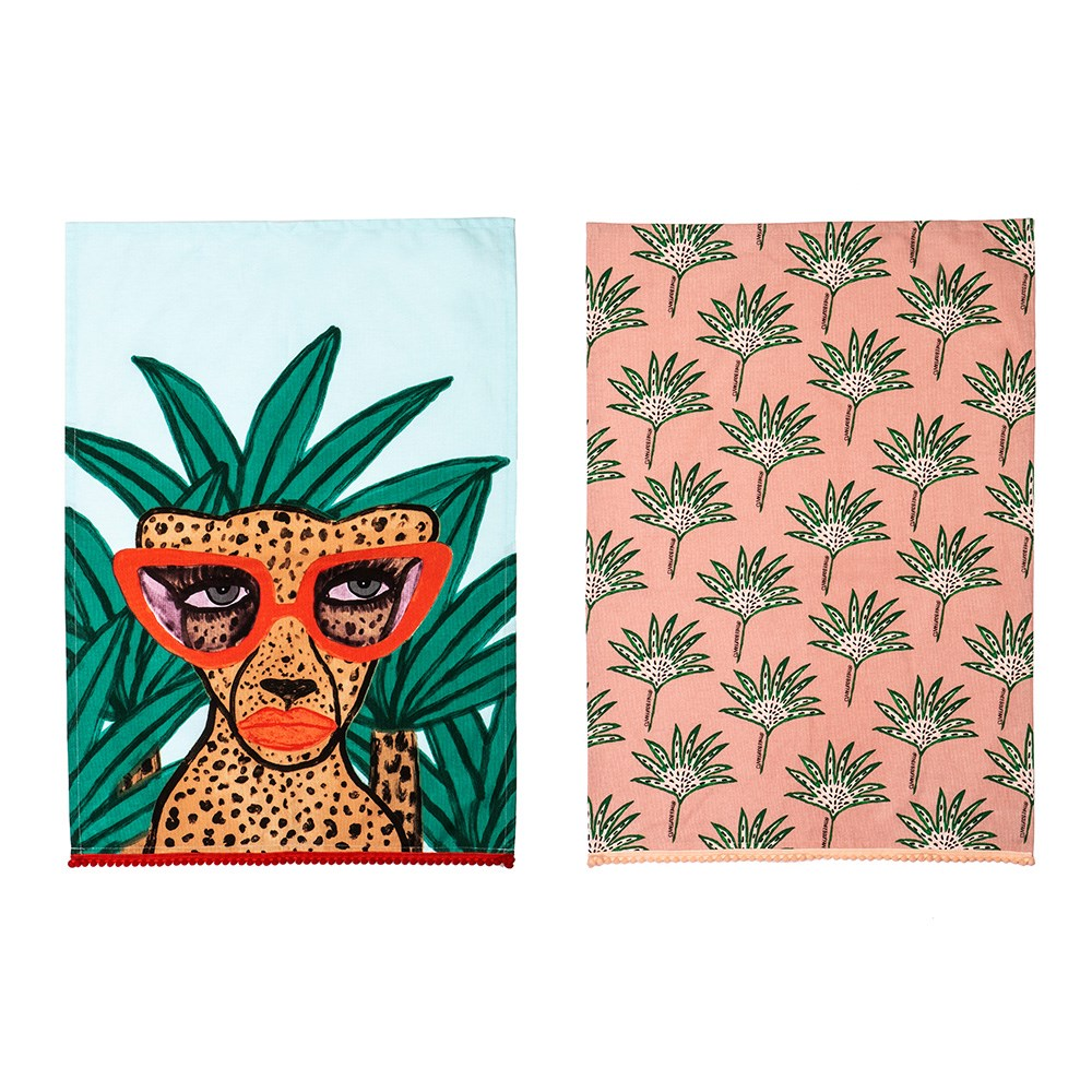 Bouffants & Broken Hearts Jungle Rumble Once a Cheetah Tea Towel Set/2