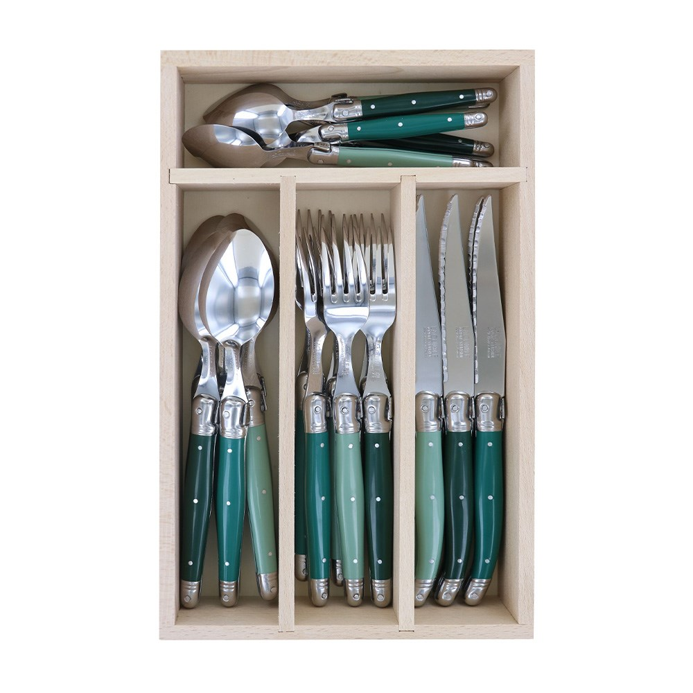 Laguiole by Andre Verdier Debutant 24 Piece Cutlery Set Green
