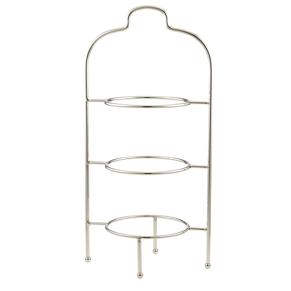 Davis & Waddell Fine Foods Bistro Nickel Plated Iron Three Tier Plate Stand Silver