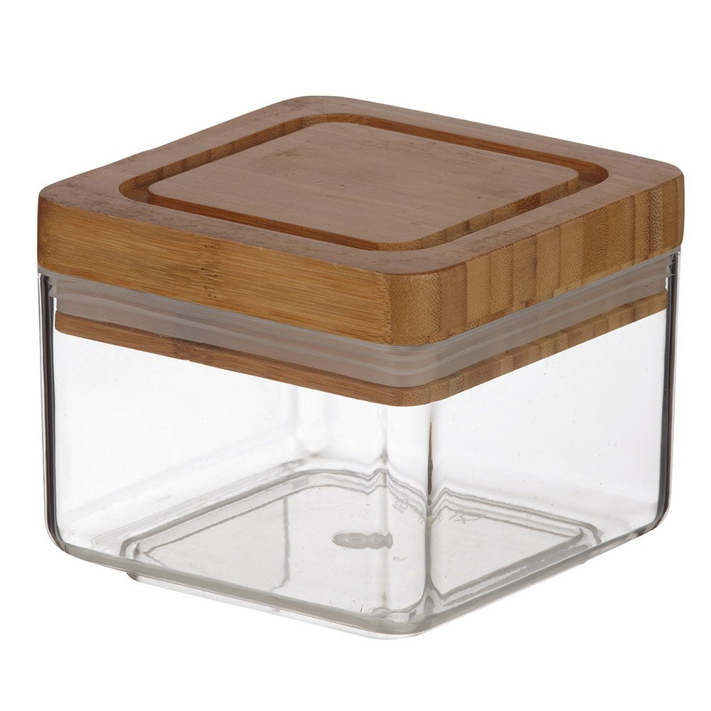 Davis & Waddell Acrylic Square Canister with Bamboo Lid 600ml