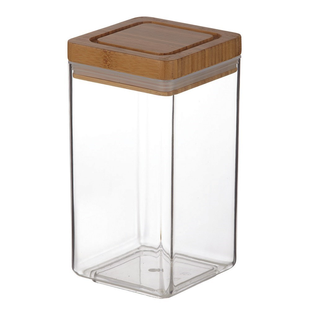 Davis & Waddell Acrylic Square Canister with Bamboo Lid 1.8L