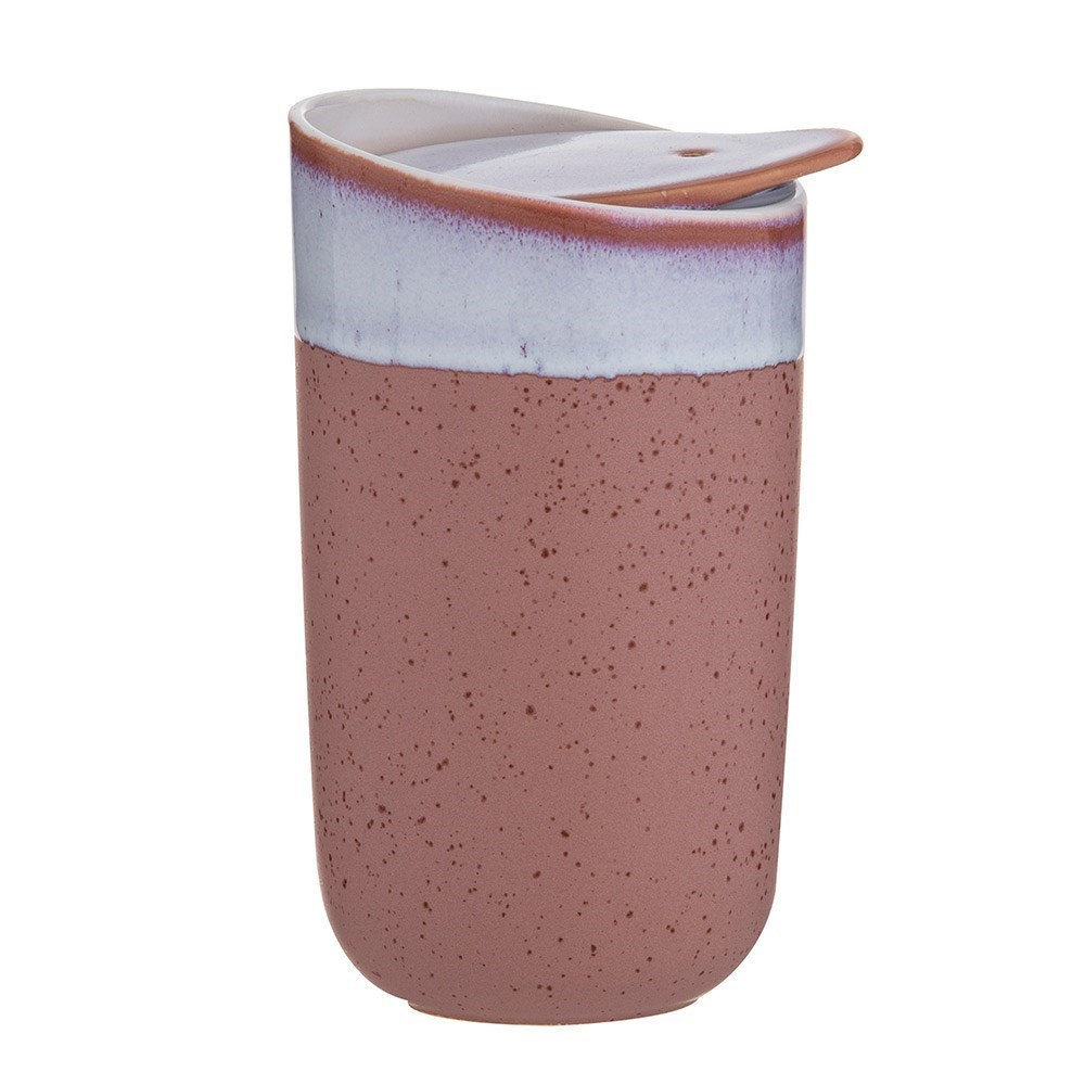Leaf & Bean Milan Reactive Glaze Double Wall Ceramic Travel Cup 325ml Pink