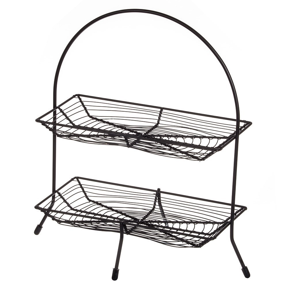Davis & Waddell Fine Foods Iron Two-Tiered Bread Basket 40 x 17 x 42cm