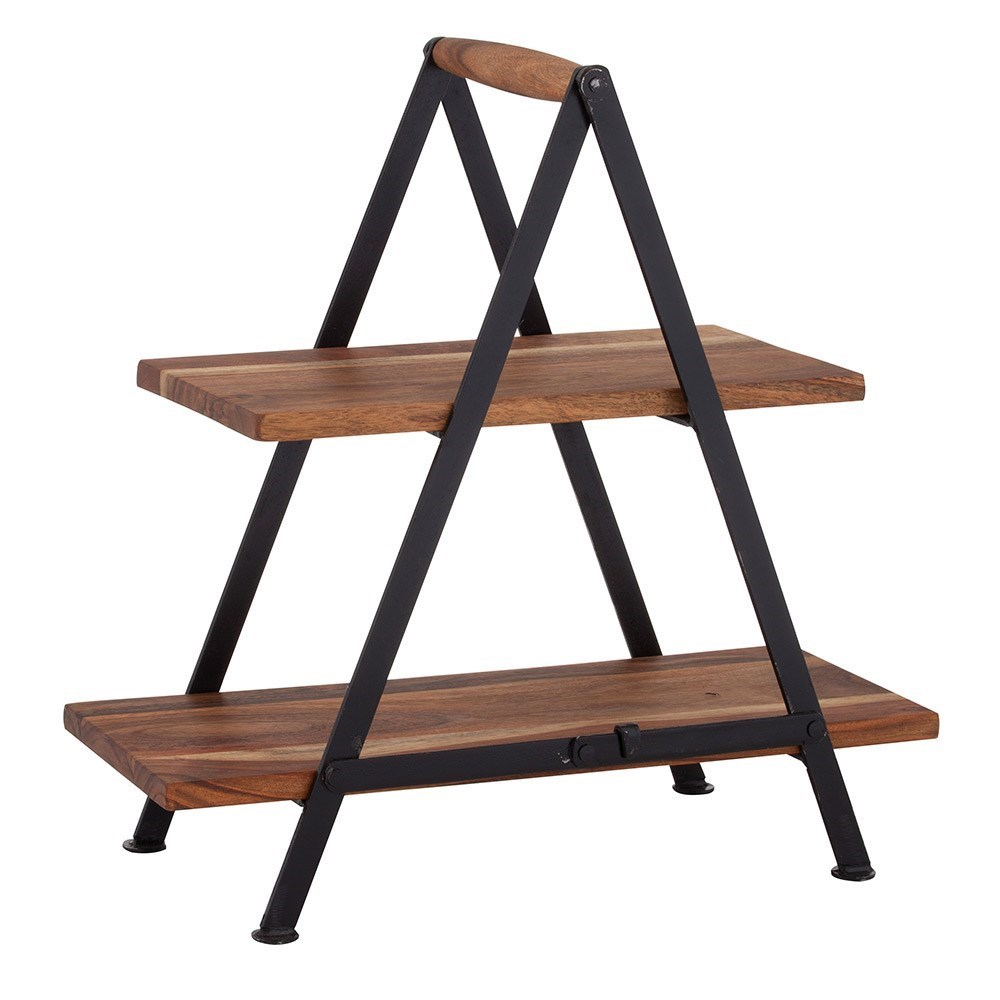 Davis & Waddell Fine Foods Acacia Wood & Iron Two-Tier Serving Stand 23 x 48 x 48cm