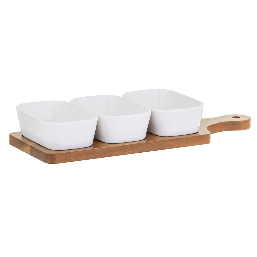 Davis & Waddell Loft Porcelain Dishes with Acacia Paddle 4 Piece Set