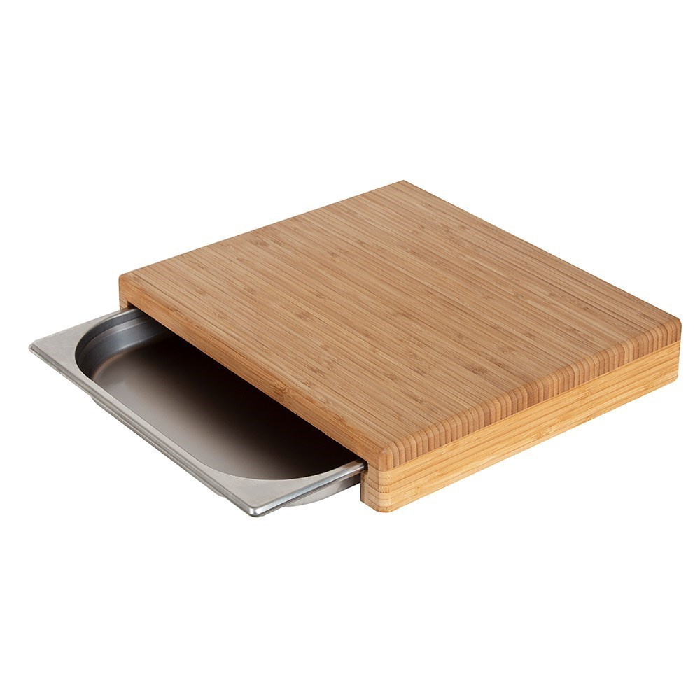 MasterPro Bamboo Cutting Board with Stainless Steel Tray 40 x 25 x 7cm