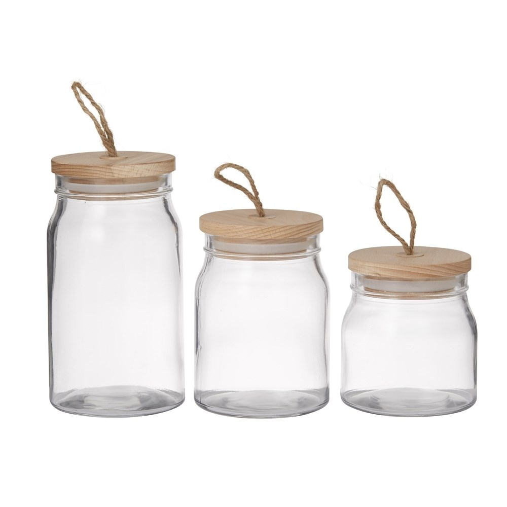 Pantry Round Glass Storage Canister with Lid Set of 3