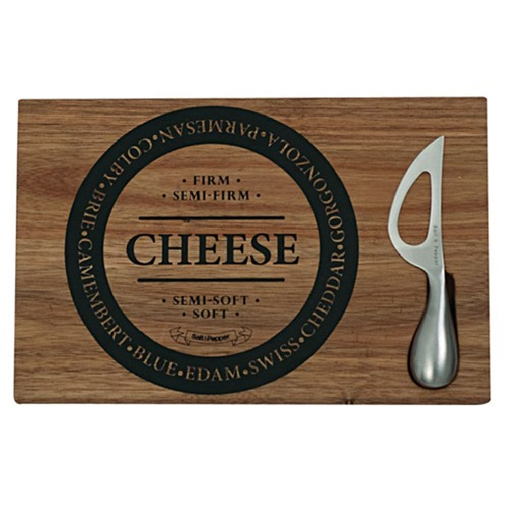 Salt & Pepper Fromage Wooden Cheese Board with Knife