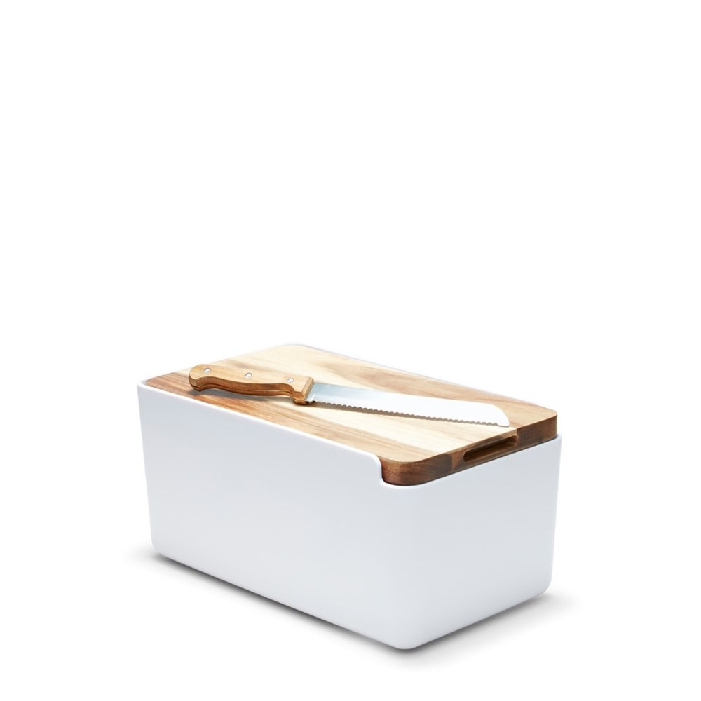 Salt & Pepper Hudson Bread Bin White with Cutting Board Lid