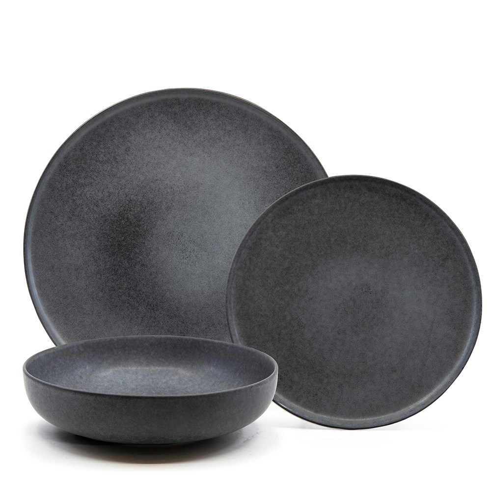 Salt & Pepper Hue 12 Piece Dinner Set Black
