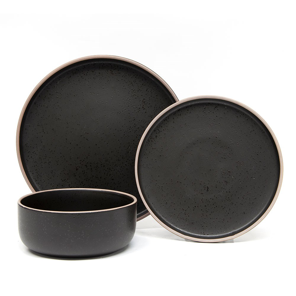 Salt & Pepper Hana 12 Piece Stoneware Dinner Set Black